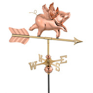 Good Directions Flying Pig Garden Weathervane - Polished Copper w/Roof Mount  8840PR
