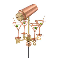 Good Directions Martini with Glasses Garden Weathervane - Polished Copper w/Roof Mount 8861PR