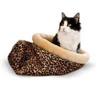 "K&H Self Warming Kitty Sack Leopard Cat Bed 17"" x 17.5"" x 4.5"" KH3494"