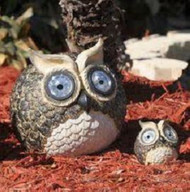 SOLAR OWL ACCENT SET OF 2 SOLAR OUTDOOR GARDEN ACCENT LIGHTS