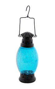 Achla Crackle Glass Lantern Teal  CRL-01TB