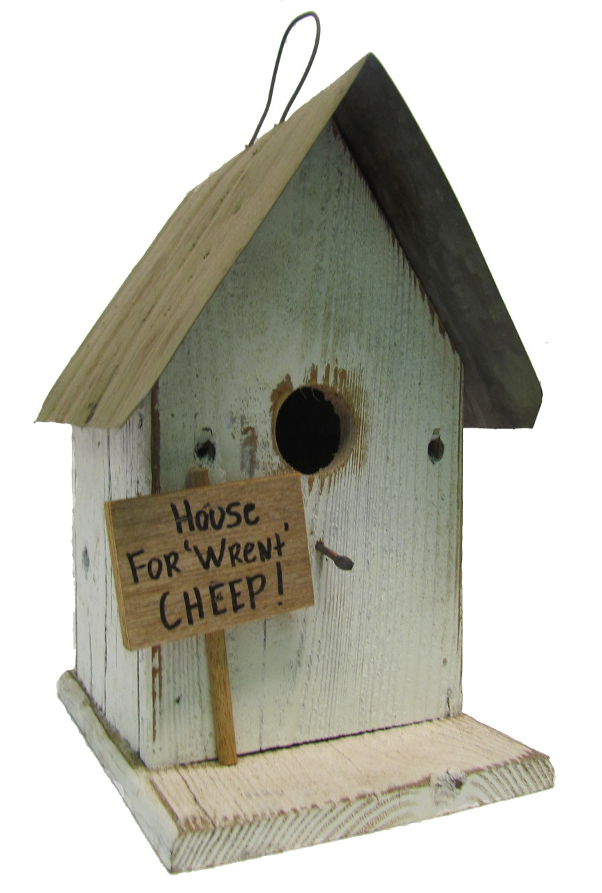 Bird N Hand Distressed Wood House For Wrent Birdhouse