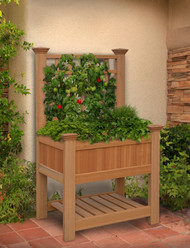 New England Arbors Bloomsbury Raised Planter with Trellis VA84062