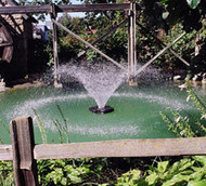 """The 2400VFX floating aerating fountain is a classic design great for residential applications or smaller farm ponds.    The classic Kasco """"V"""" pattern, now a larger 5' Tall x 15' wide gives this model a beautiful aerating pattern that will improve water quality and aesthetics of any pond or body of water.  The 2400VFX is a 120V, 60Hz model."""