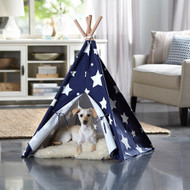 Merry Pet Cat Dog Pet Blue with White Stars Large Teepee PTP0080203000