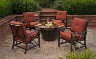 Oakland Living Moonlight Gas Fire Pit Table OAA2748 Oakland Living Moonlight 5 Piece Gas Fire Pit Table Seating Group With Cushions OAA2777