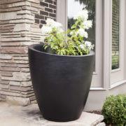 Mayne Modesto 30 Inch Round Planter Black  8884-B