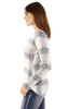 Long Sleeve Plaid Pullover In Blue Freeze