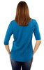 High-Low Elbow Sleeve Top with Lace Pocket In Teal