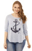 Plus Size Anchor Swing Top In Navy