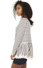 Striped Frill and Lace Top In Navy/White
