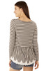 Striped Frill and Lace Top In White/Grey