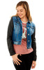 Faux Leather Denim Jacket In Tessa