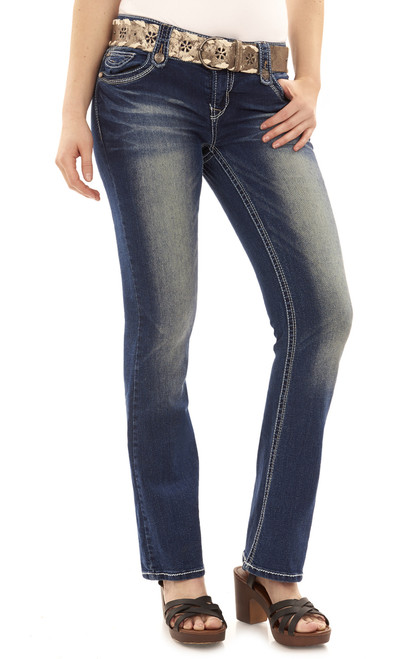 Belted Luscious Curvy Bootcut Jeans In Camila