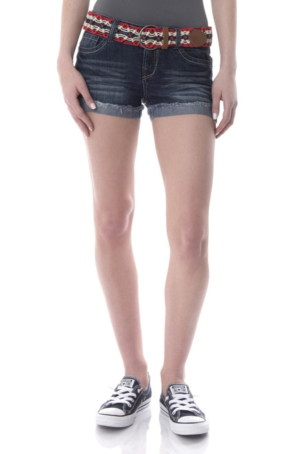 Fray Denim Cutoff Short Shorts In Blue Buffalo