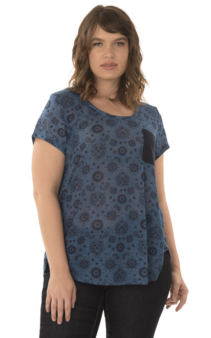 Plus Size High Low Pocket Tee In Blue
