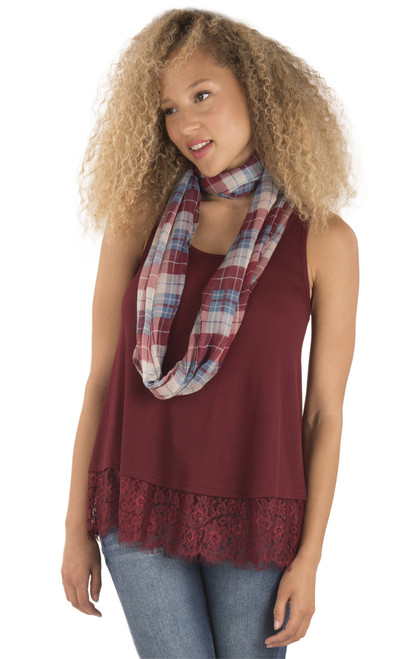 Lace Trim Tank With Scarf In Cabernet