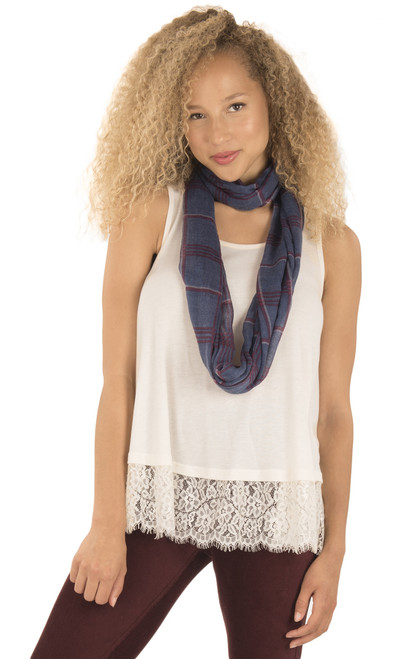 Lace Trim Tank With Scarf In Birch