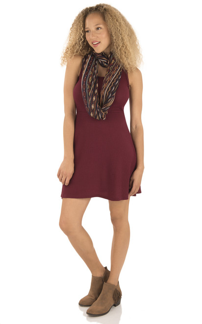 Thermal Knit Dress with Scarf In Berry
