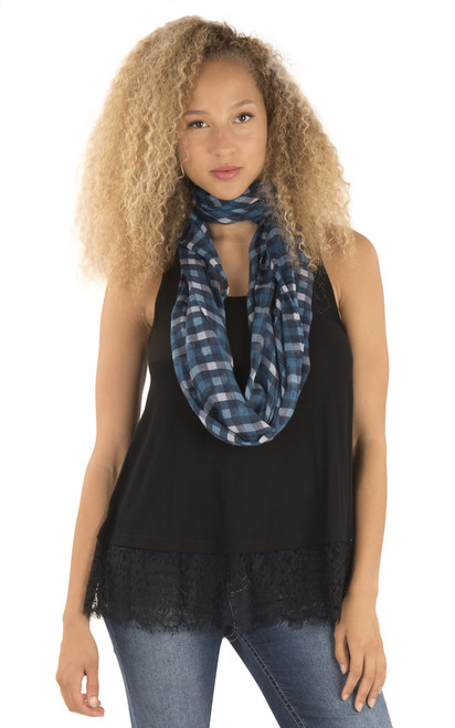 Lace Trim Tank With Scarf In Black