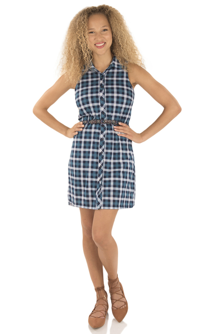 Button Down Sleeveless Dress In Tuscan/Navy