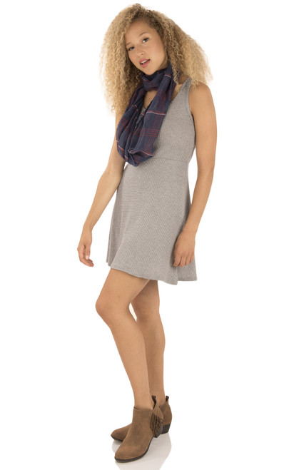Thermal Knit Dress with Scarf In Heather Grey