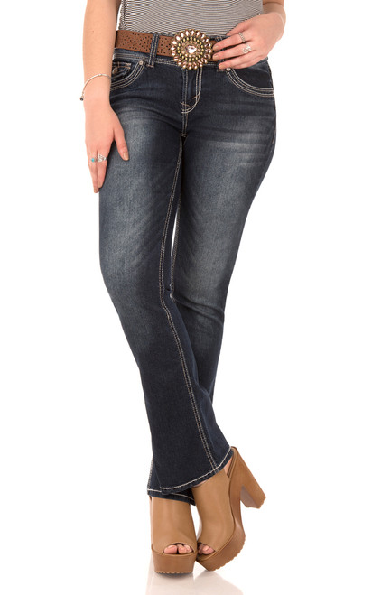 Belted Luscious Curvy Bootcut Jeans In Tegan