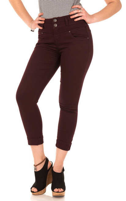 Sassy High Waisted Cropped Jeans with Ankle Bracelet In Mahogany