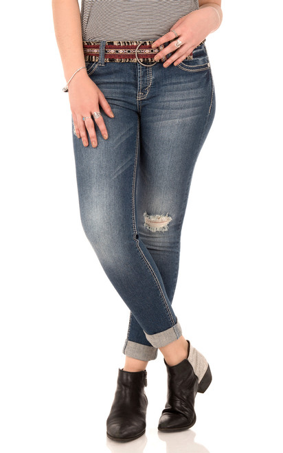 Belted Rolled Legendary Destructed Skinny Jeans In Morgan