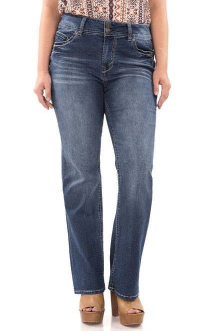 Plus Size Long Inseam Luscious Curvy Basic Bootcut Jeans In Addison