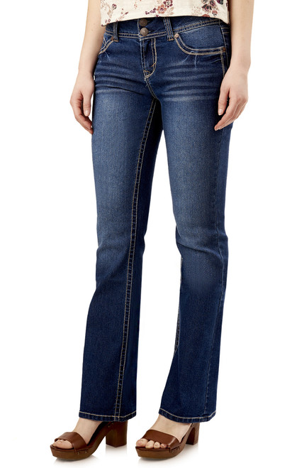 Luscious Curvy Short Inseam Basic Bootcut Jeans In Addison