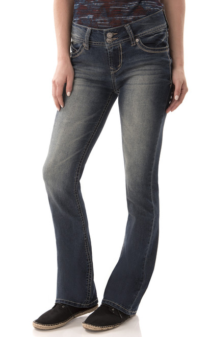 Luscious Curvy Short Inseam Basic Bootcut Jeans In Katy