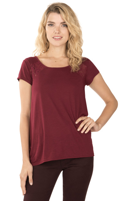 Lace Insert Tee In Berry