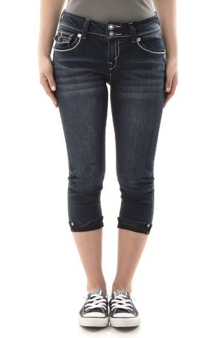 Luscious Curvy Bling Denim Capris In Mari