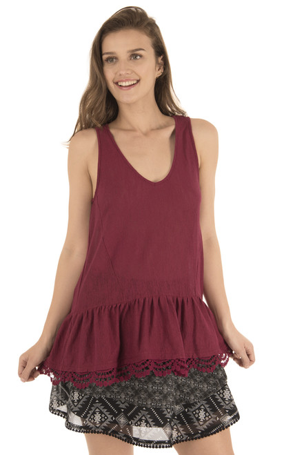 High Low Tank with Crochet In Burgundy Blush