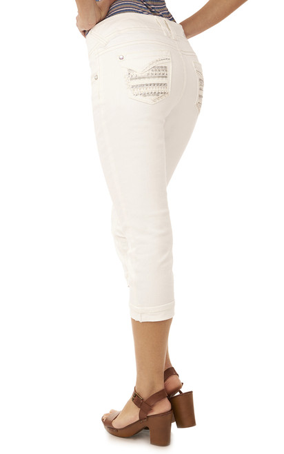 Luscious Curvy Embellished Denim Capris In Ever
