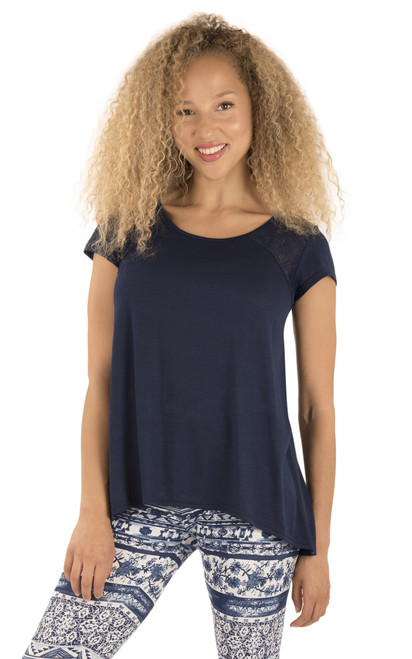 Lace Insert Tee In Navy