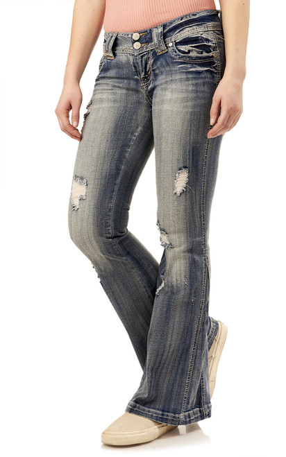 Luscious Curvy Super Flare Destructed Jeans In Farrah