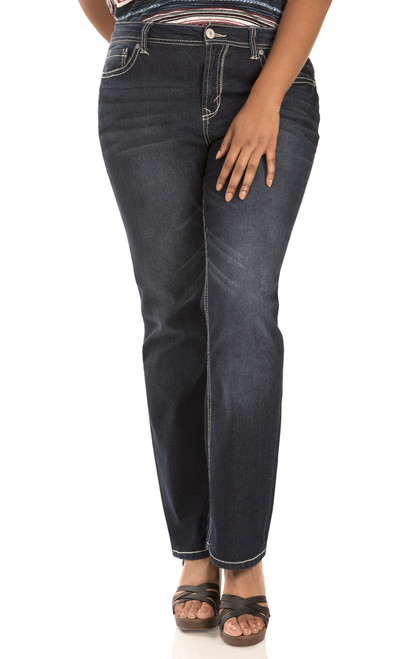 Plus Size Long Inseam Basic Legendary Bootcut Jeans In Britney