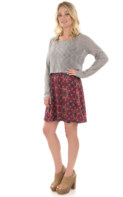 Knit Dress with Cropped Pullover In Medium Heather Grey