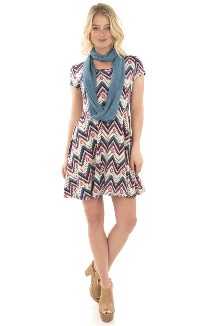 Skater Dress with Infinity Scarf In Blue Print