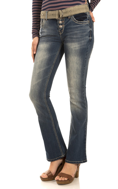 Exposed Button Legendary Belted Bootcut Jeans In Katy