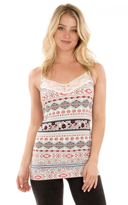 Tank with Lace Trim In Multi Print