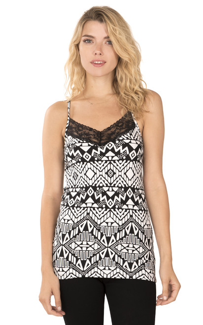 Tank with Lace Trim In Black-White