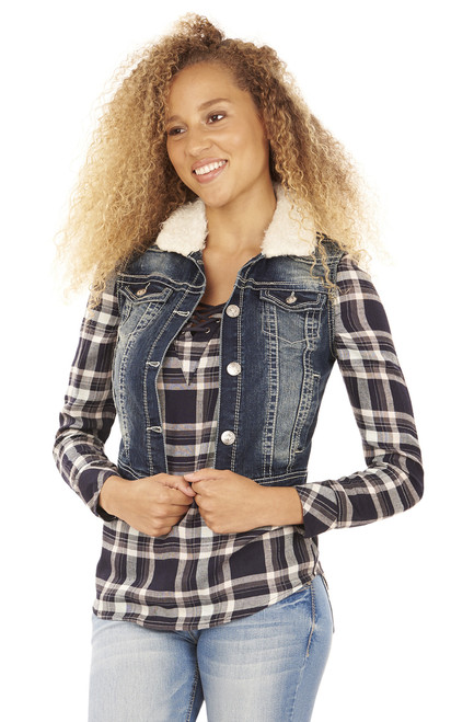 Denim Vest with Fur Collar In Camila