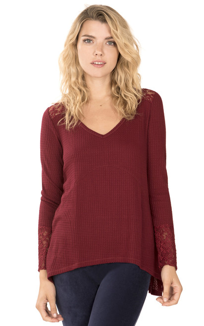 Long Sleeve Thermal with Lace Insert and Cuff In Cabernet