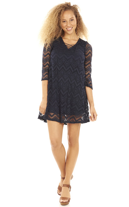 Lace Up Trapeze Dress In Navy