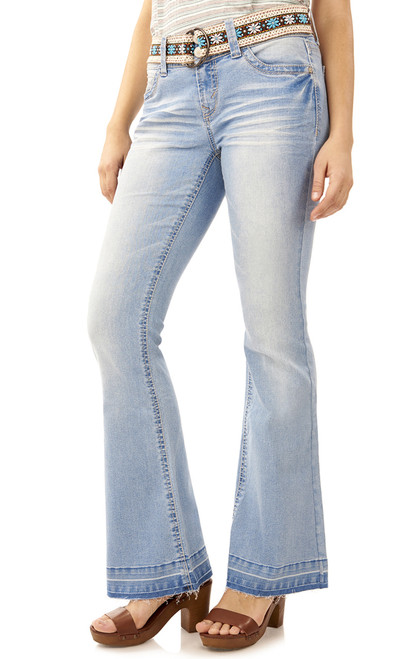 Luscious Curvy Belted Flare Jeans In Skyler