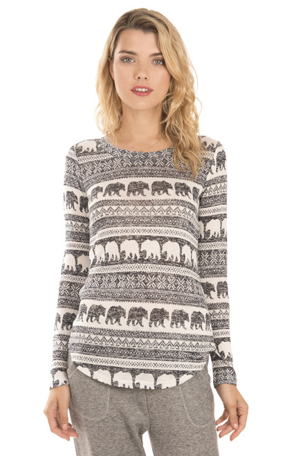 Long Sleeve Bear Pullover In Navy