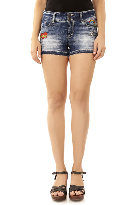 Luscious Curvy Distressed Shorts In Tina
